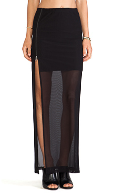 Evil Twin Zip Split Maxi Skirt in Black