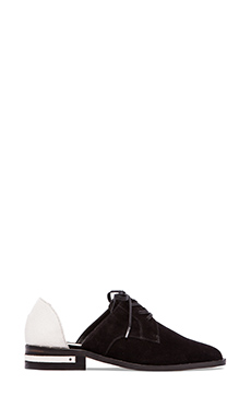 Freda Salvador Wit Oxford in Black Suede & White Lizard