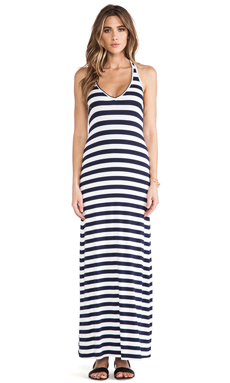 Feel the Piece Striped V Neck Maxi in Navy & White Stripe