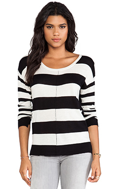 Feel the Piece Color Block Stripe Sweater in Black/White