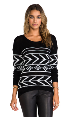 Feel the Piece Intarsia Boat Neck in Black/White