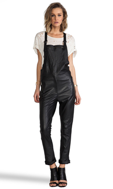 Friend of Mine Maverick Leather Overalls in Black