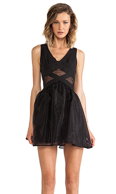 Finders Keepers Broken Heart Dress in Black/Black