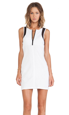 First Base Zip Front Scuba Dress in White & Black