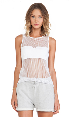 First Base Festival Mesh Tank in White