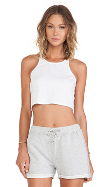 First Base Halter Crop in White
