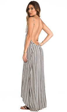 FLYNN SKYE Scoop Back Maxi in Railroad Stripe