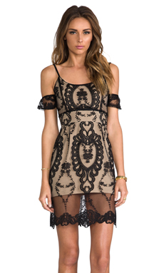 For Love & Lemons For Love & Lemons Vienna Off The Shoulder Lace Dress in Black & Nude