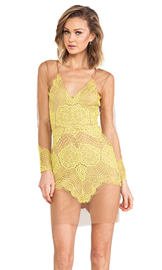 For Love & Lemons Antigua Mini Dress/Nude in Chartreuse