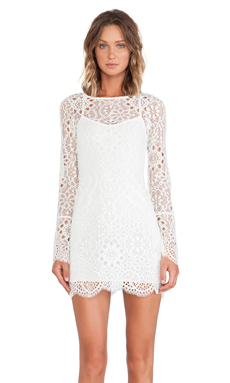 For Love & Lemons Love Bird Dress in Off White
