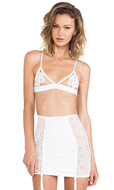 SKIVVIES by For Love & Lemons Fleur Bra in Ivory & Nude