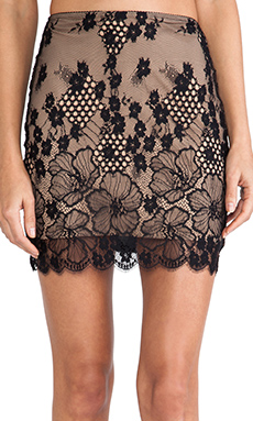 SKIVVIES by For Love & Lemons Flower Bomb Slip Skirt in Black & Nude