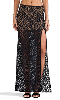 For Love & Lemons Buenas Noches Skirt in Black