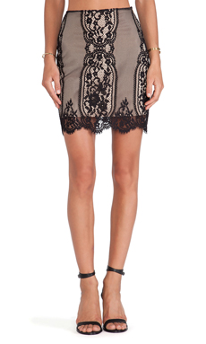 For Love & Lemons Wild Flower Skirt in Black& Nude