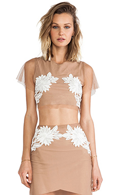 For Love & Lemons Balmly Nights Crop Top in Nude