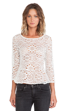 For Love & Lemons Holly Blouse in Off White