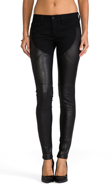 Frankie B. Jeans Pandora Stretch Leather Legging in Black