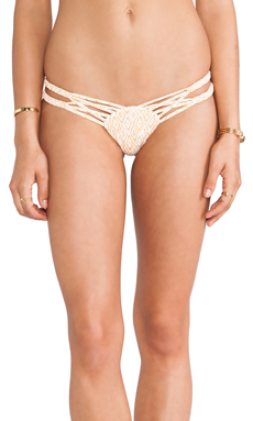 Frankie's Bikinis Mary-Jane Seamless Twisted Double Braided Side Bottom in Diamond Orange