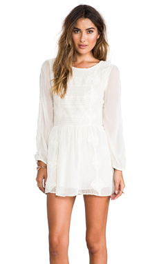 Free People Leigh Long Sleeve Lace Dress in Ivory