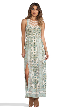 Free People Moroccan Printed Maxi Dress in Ivory Combo