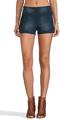 Free People High Rise Lace Up Shorts in Moody Blue