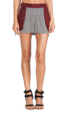 Free People Mix Print Short in Washed Black Combo