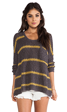Free People Greenwich Village Pullover in Charcoal Combo
