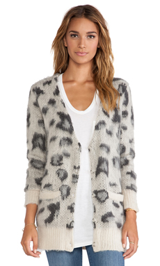Free People Out of Africa Cardigan in Snow Leopard Combo