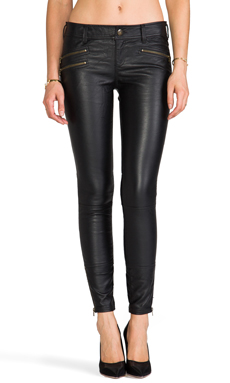 Free People Skinny Vegan Leather Pant in Black