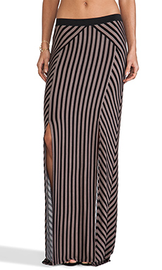 Free People What's Your Angle Maxi Skirt in Black & Taupe Combo