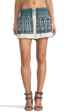 Free People Smocked Waist Skort in Ash Combo