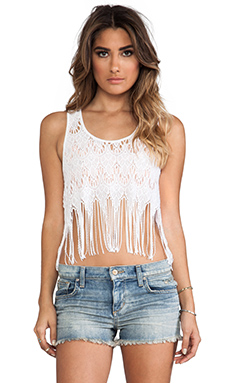Free People Fringe Lace Tank in White