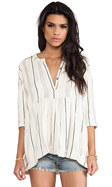 Free People Stitched Up Sally Top in White Combo