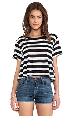 Free People Keeping it Real Tee in Black & Ivory