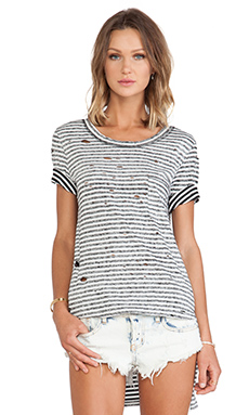 Free People Striped Shredded Tee in White & Black Combo