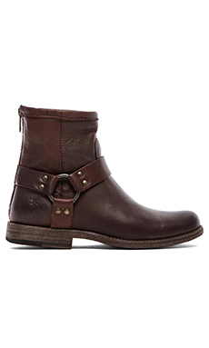 Frye Phillip Harness Boot in Dark Brown