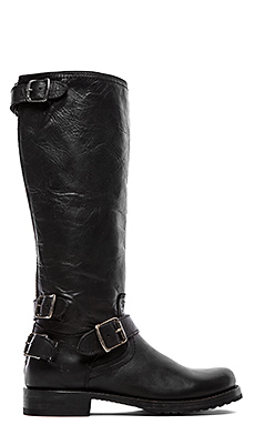 Frye Veronica Moto Back Zip Boot in Black