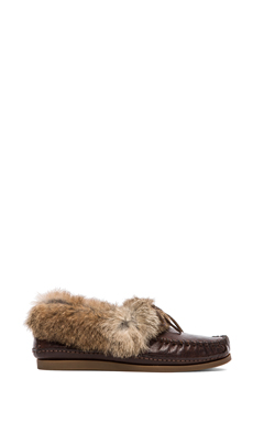Frye Mason Cuff Slipper with Rabbit Fur and Sheep Shearling in Dark Brown