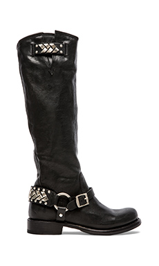 Frye Jenna Braid Stud Tall Boot in Black