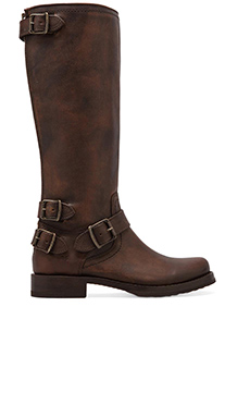 Frye Veronica Moto Back Zip Boot in Maple