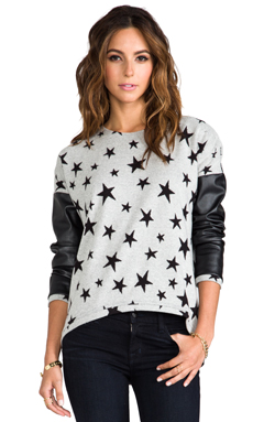 Generation Love Bobo Leather Sleeve Sweater in Star
