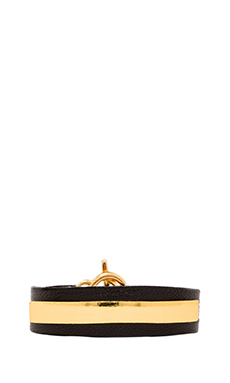 gorjana Graham Leather Bar Triple Wrap Bracelet in Black