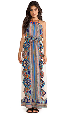 Greylin Diana Embellished Halter Maxi Dress in Sand