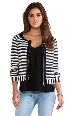 Greylin Trina Striped Knit Cardigan in Navy