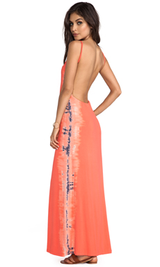 Gypsy 05 La Ba Dee Bamboo Knit Cami Scoop Back Maxi Dress in Coral Reef/Smoke