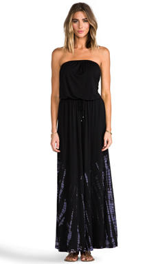 Gypsy 05 Drawstring Tube Maxi Dress in Black
