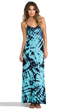 Gypsy 05 Deep V Maxi Dress in Aqua & Dark Navy