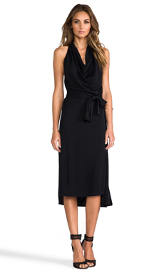 Halston Heritage Halter Cowl Neck Dress in Black