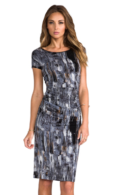 Halston Heritage Crew Neck Printed Dress in Black Brushstrokes