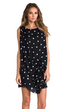Halston Heritage Cinched Waist Dress in Black & Chalk Polka Dots